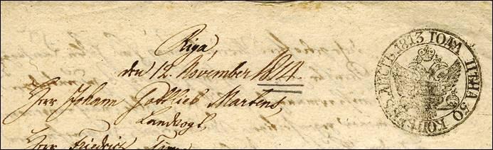 1813 stempelpapier Russland in Litauen 1813